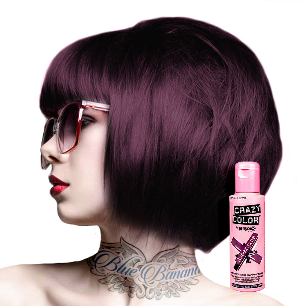 Crazy Color Semi Permanent Aubergine Bright Colour Hair Dye 100ml