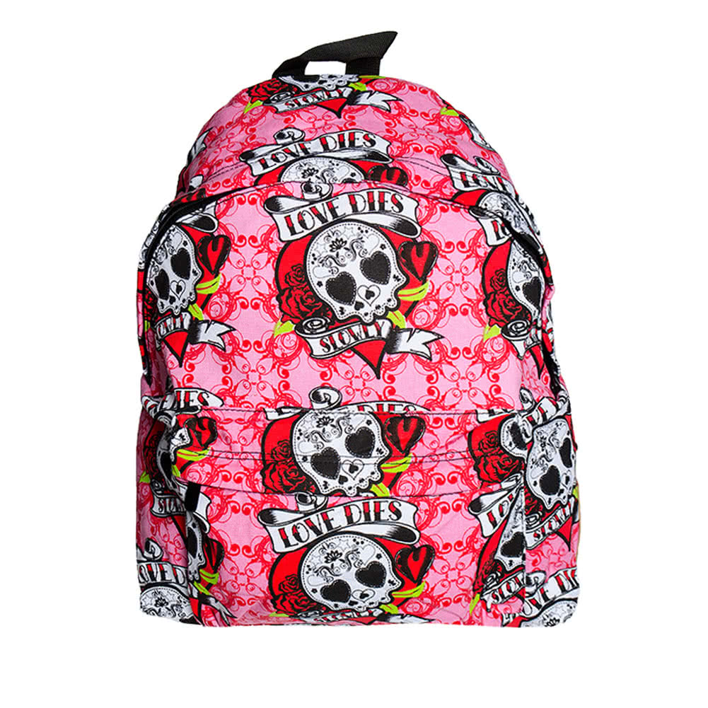 Bleeding Heart Love Dies Backpack (Pink)