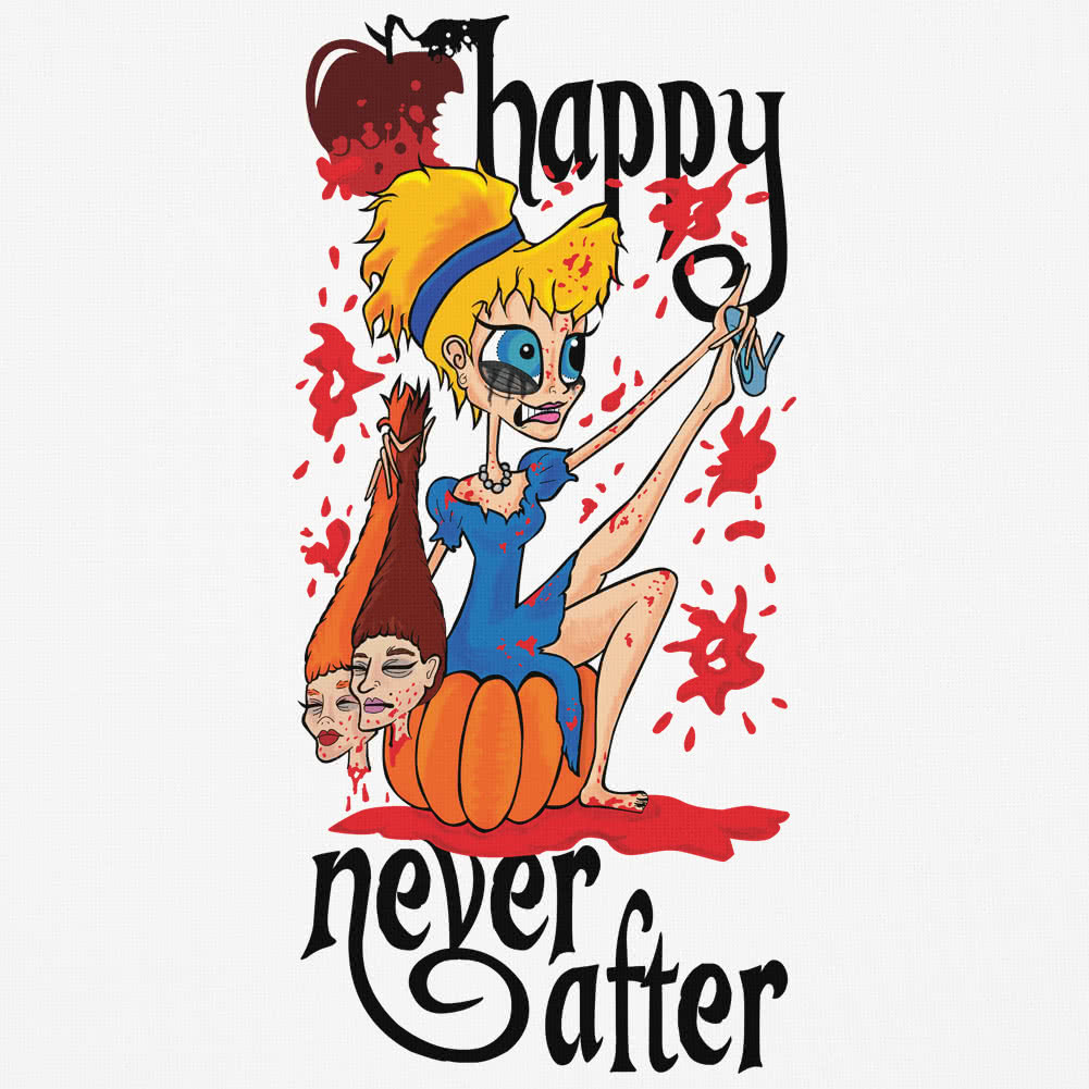Happy Never After Sinders Vest Top With Blood (White)
