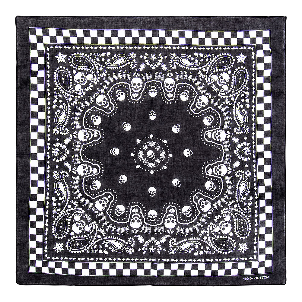 Blue Banana Paisley/Check Skull Bandana (Black)