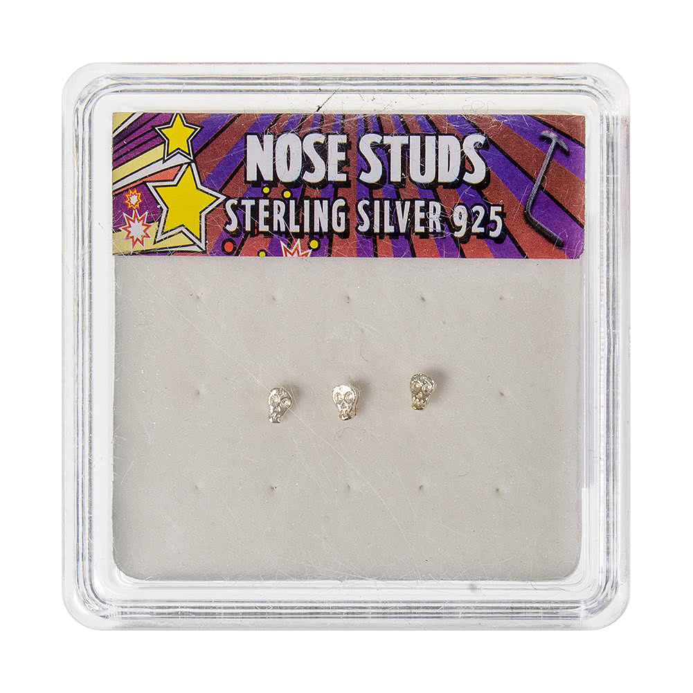 Blue Banana Silver 0.5mm Skull Nose Studs (Pack of 3)