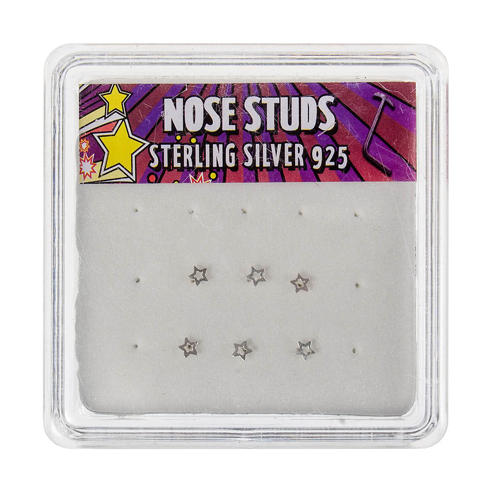 Blue Banana Silver 0.5mm Hollow Star Nose Studs (Pack of 6)