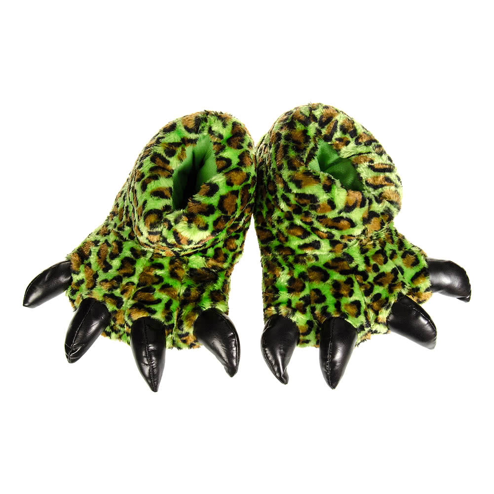 Blue Banana Leopard Print Claw Slippers (Green)