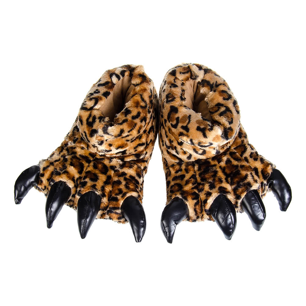 Blue Banana Leopard Print Claw Slippers (Brown)