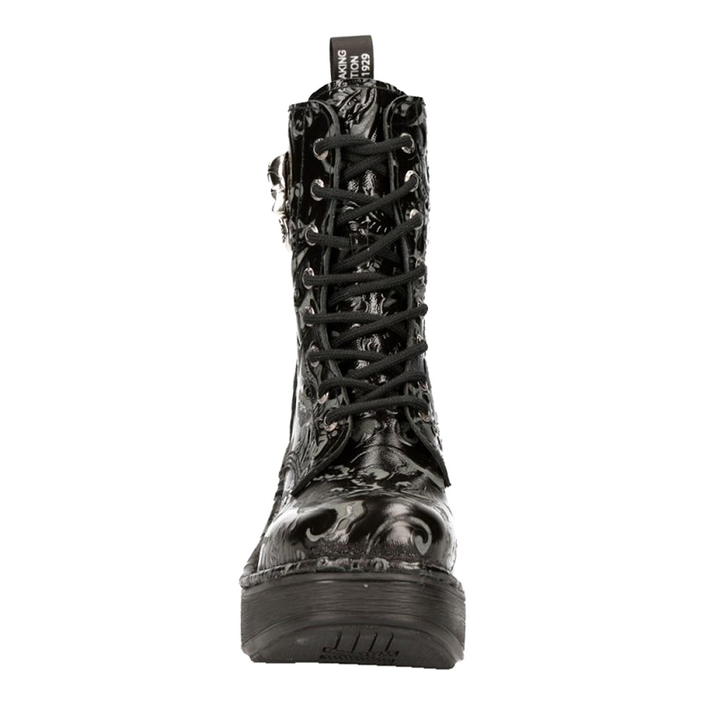 New Rock Style M.8358-S1 Flower Boots (Black)