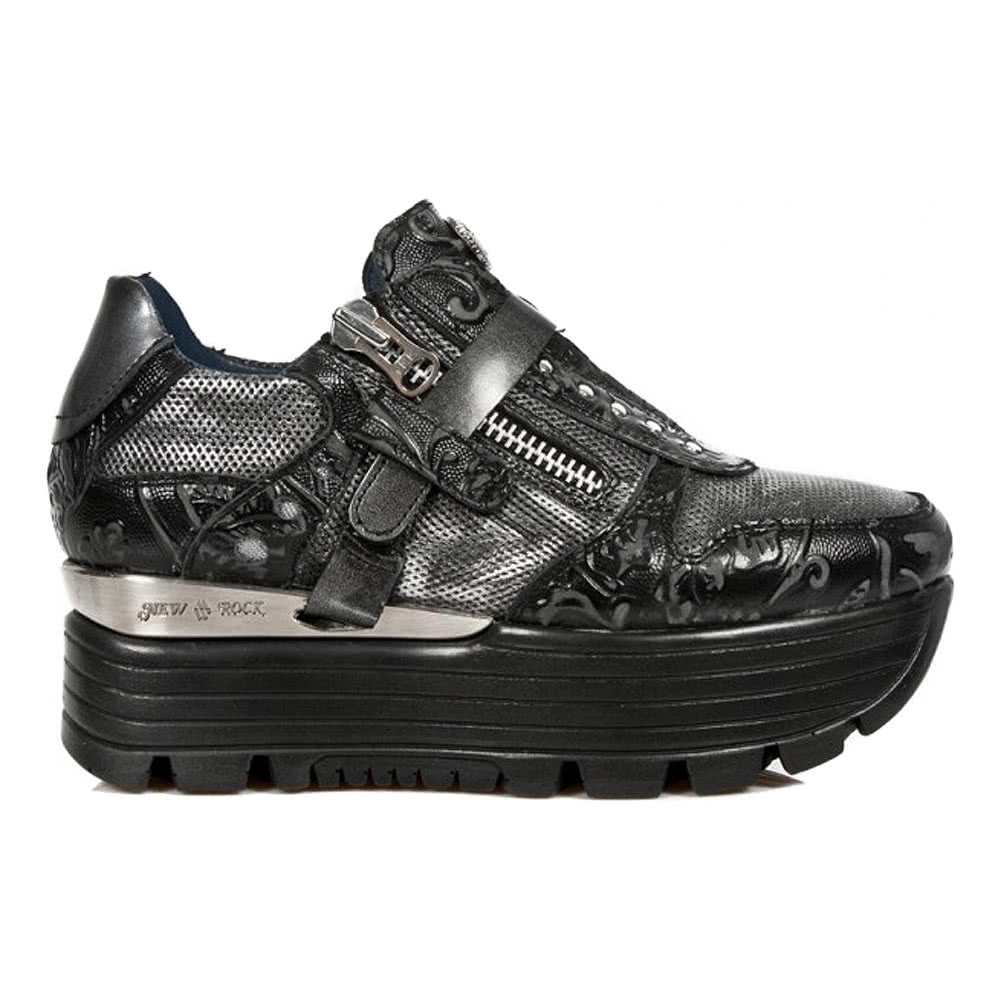 New Rock Style M.URBAN018-S3 Flower Creeper Shoes (Black)