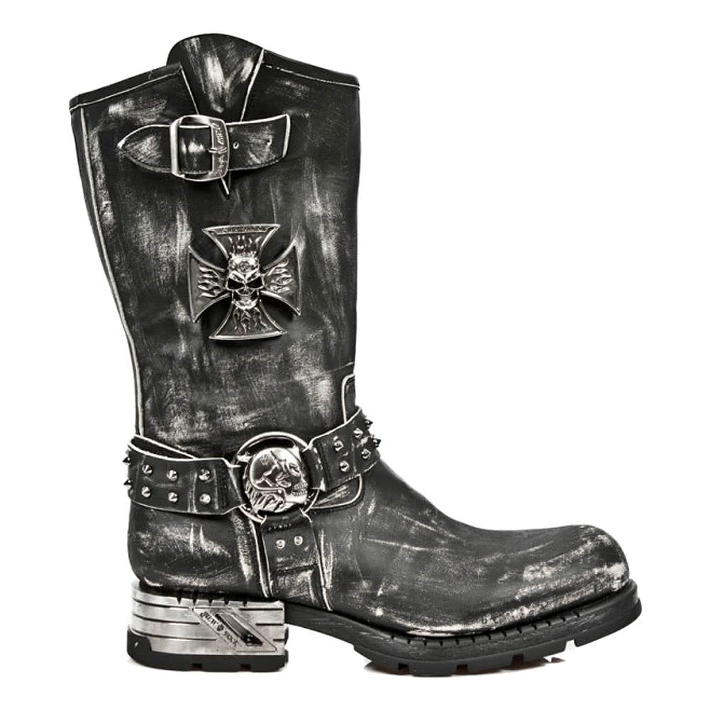 New Rock Style M.MR030-S2 Boots (Distressed Black)
