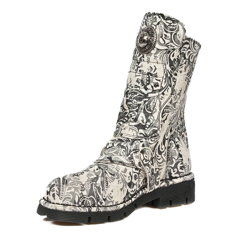 New Rock M.1471-S10 Flower Boots (White)