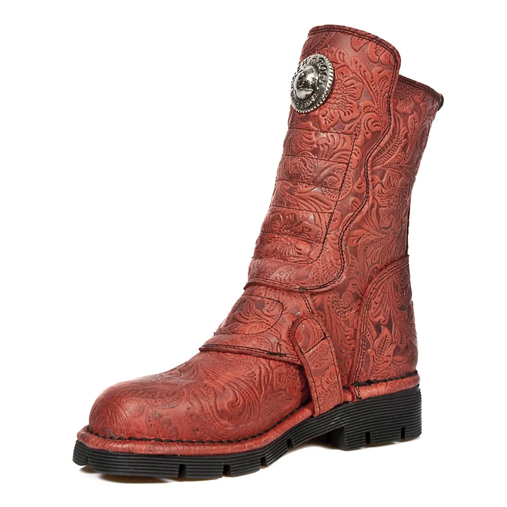 New Rock M.1471-S12 Vintage Flower Calf Boots (Red)
