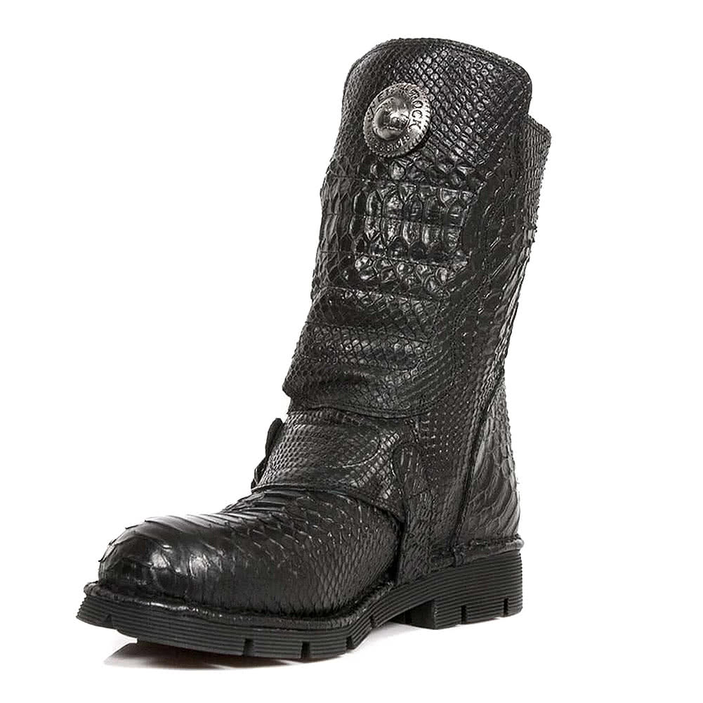 New Rock M.1471-S14 Comfort-Light Snake Half Boots (Black)