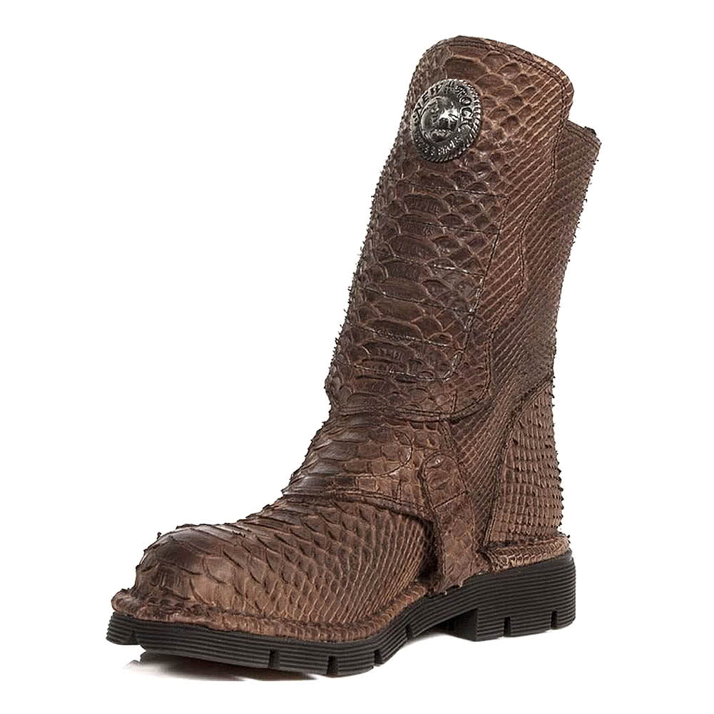 New Rock M.1471-S15 Snakeskin Half Boots (Brown)