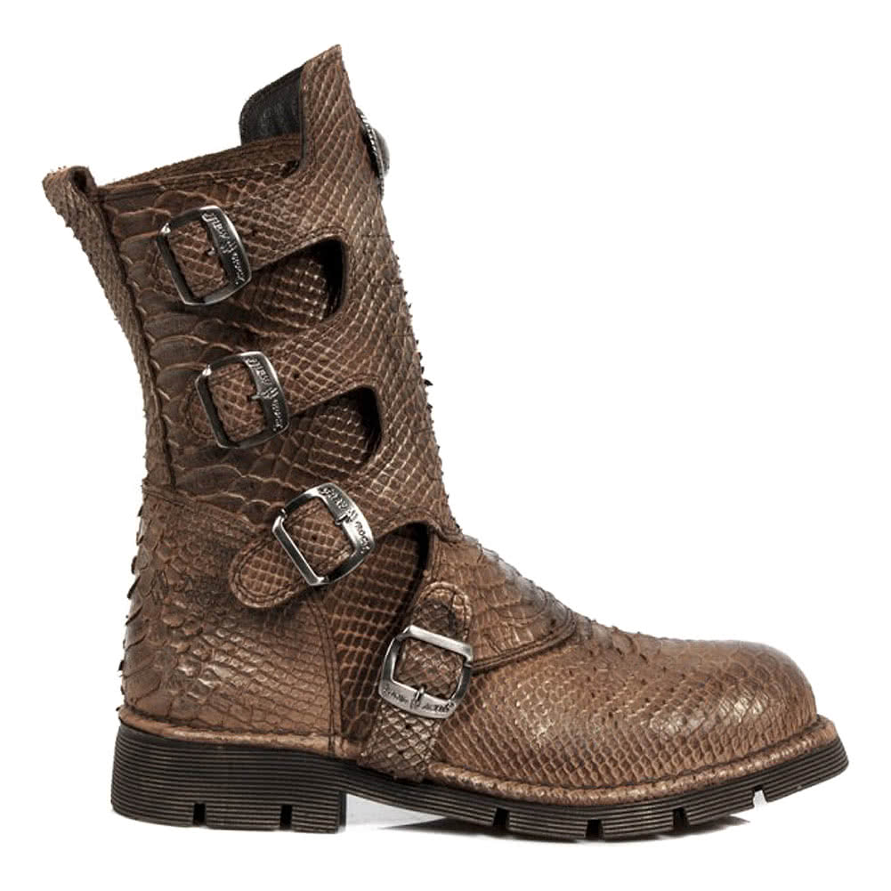 New Rock Style M.1471-S17 Snakeskin Boots (Brown)