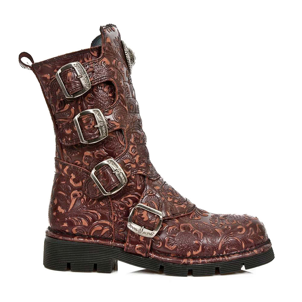 New Rock M.1471-S24 Flower Half Boots (Red/Brown)