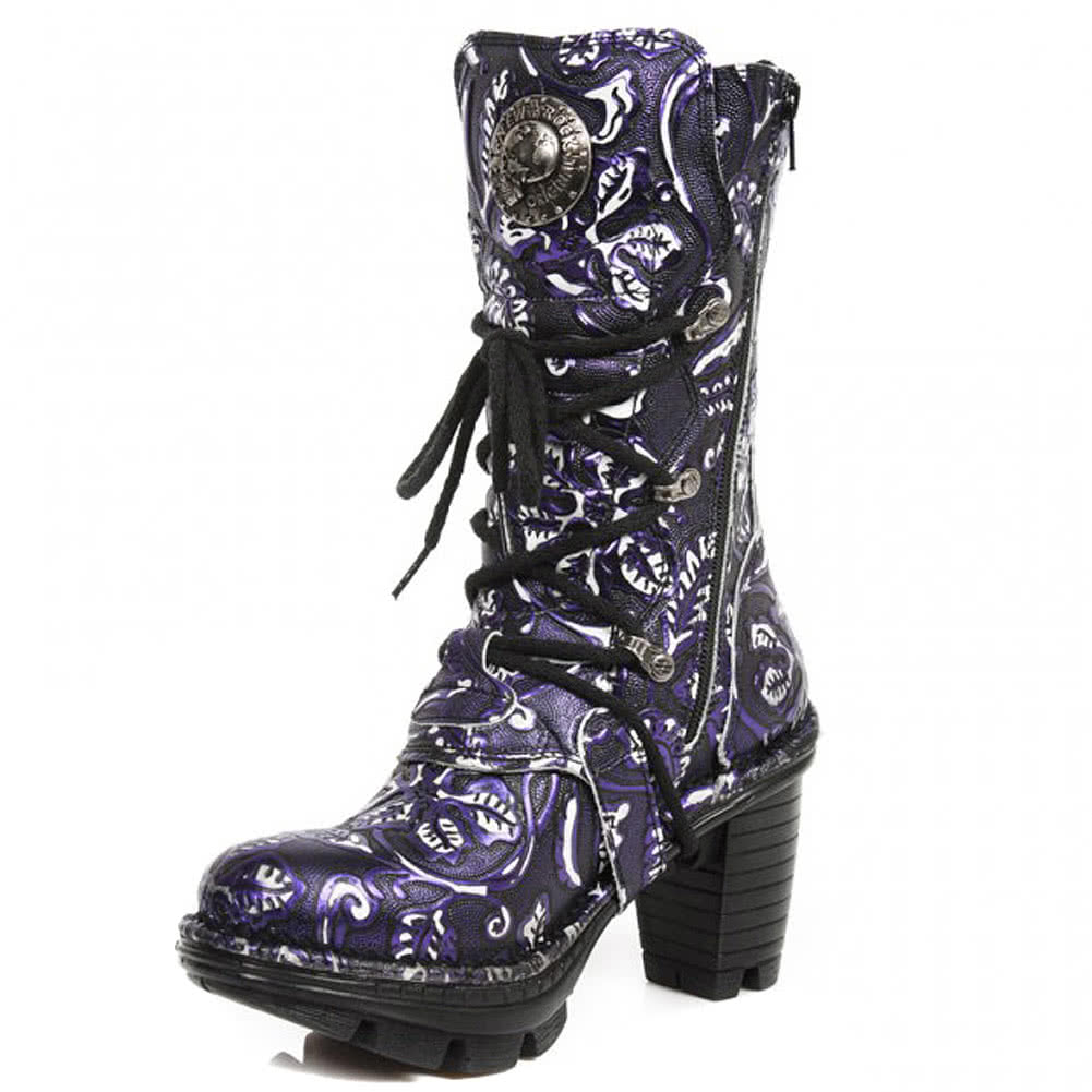 New Rock M.NEOTR005-S33 Vintage Flower Heeled Boots (Purple)