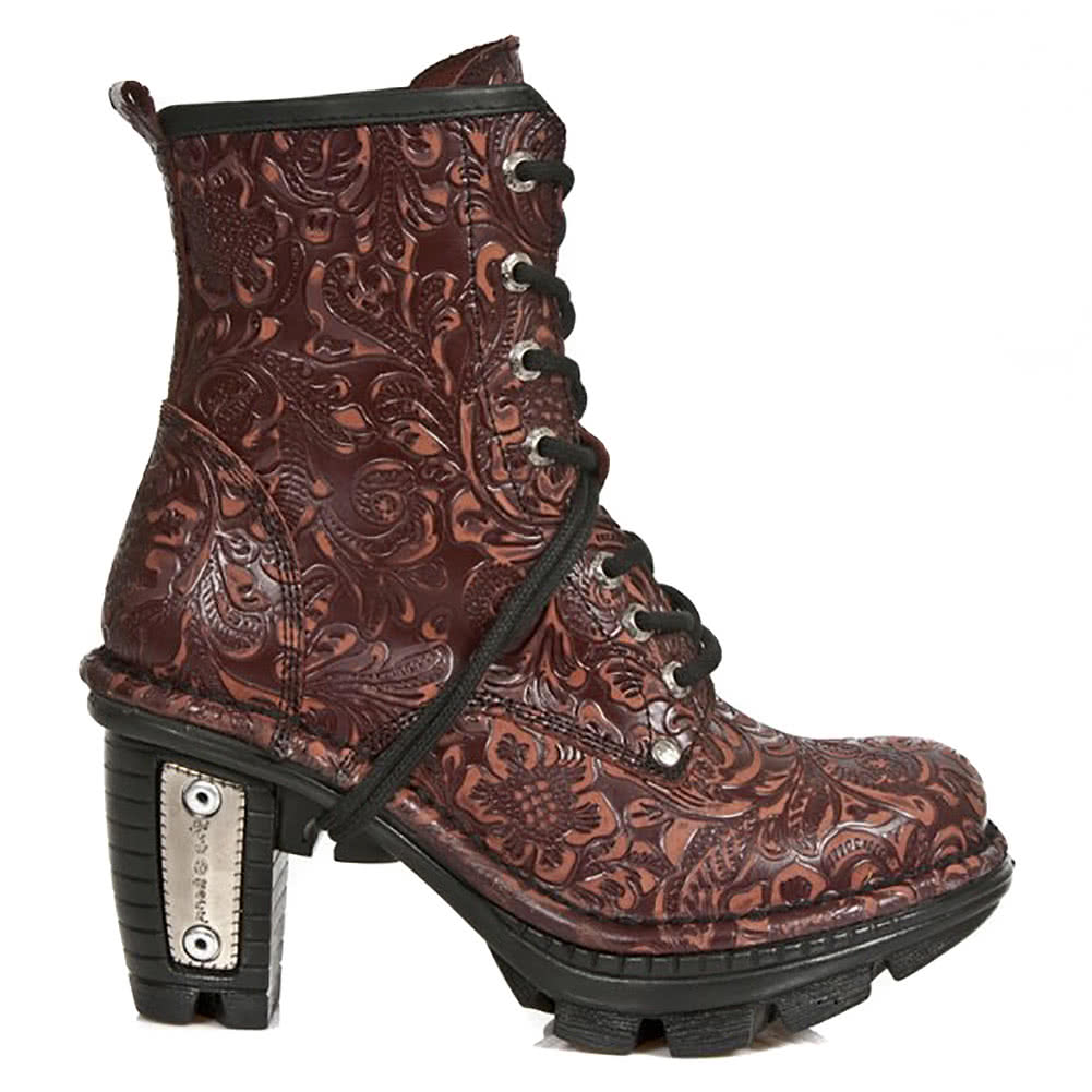 New Rock M.NEOTR008-S34 Vintage Flower Heeled Boots (Dark Brown)