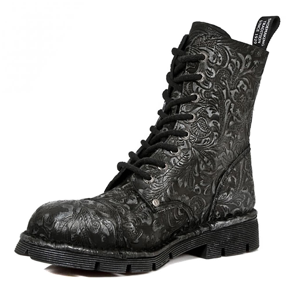 New Rock M.NEWMILI083-S7 Vintage Flower Half Boots (Black)