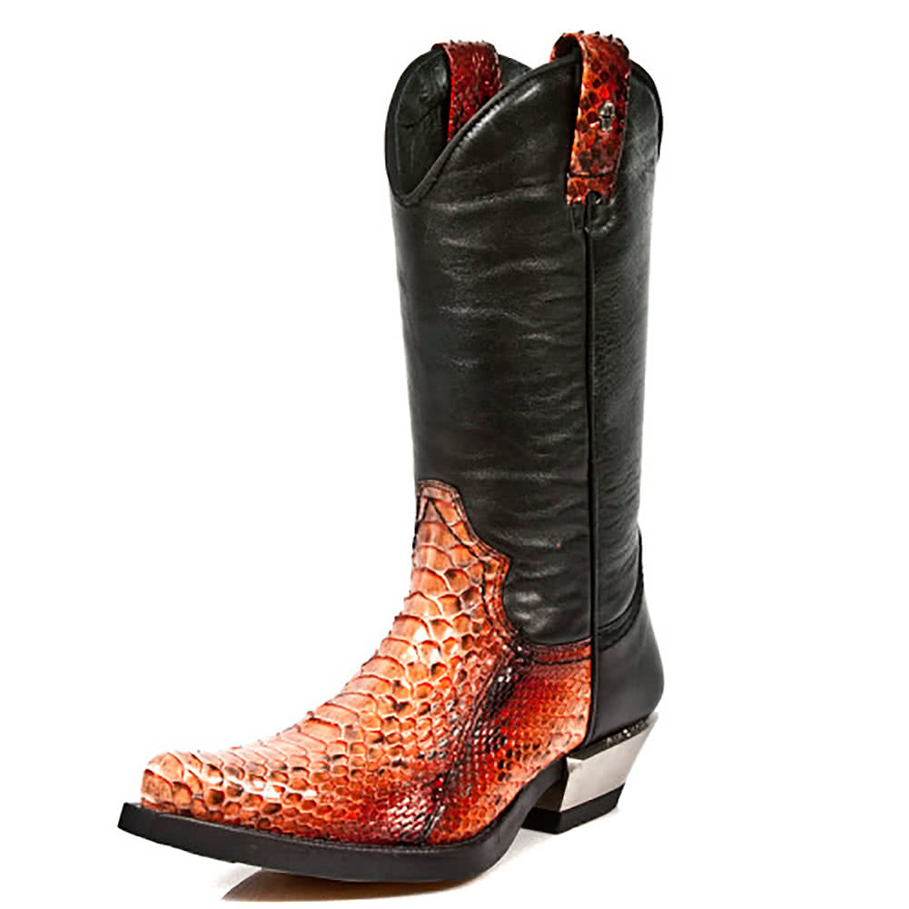 New Rock M.7800PT-S1 West Boots (Black/Orange)
