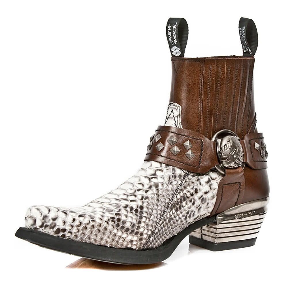 New Rock M.7995PT-S2 Snakeskin Ankle Boots (Brown/White)
