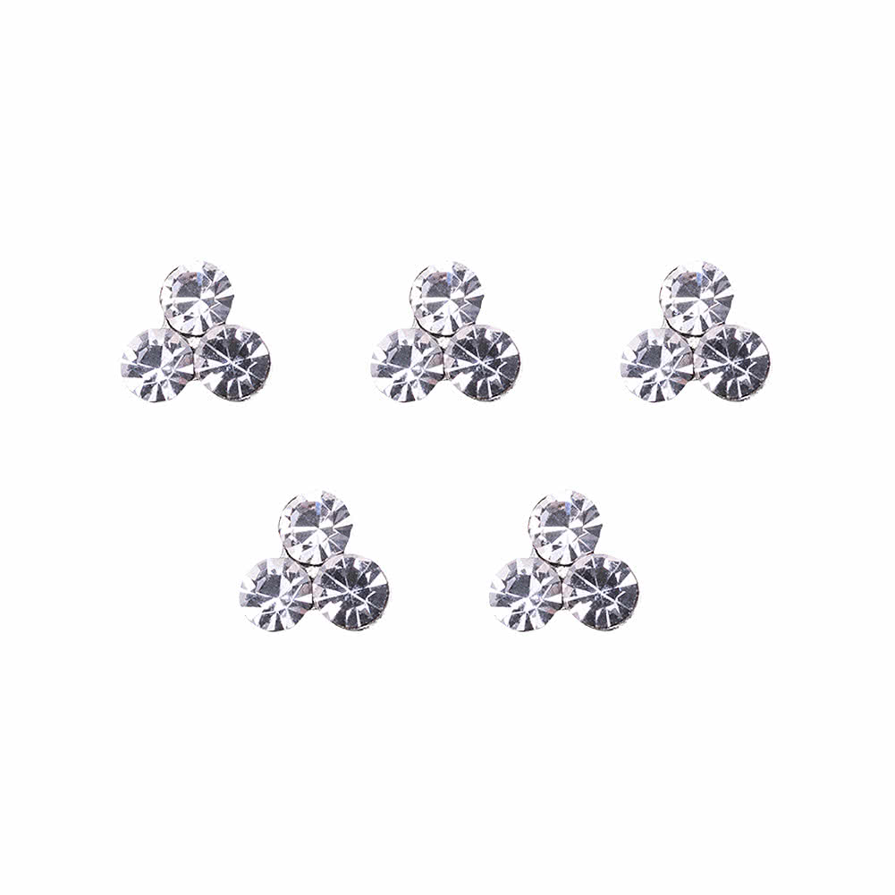 Blue Banana Sterling Silver 0.5mm Crystal Cluster Nose Studs (Pack of 5)
