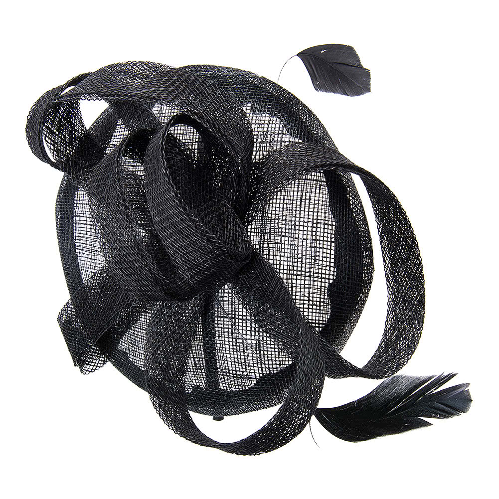 Blue Banana 2 Feather '50s Style Fascinator (Black)