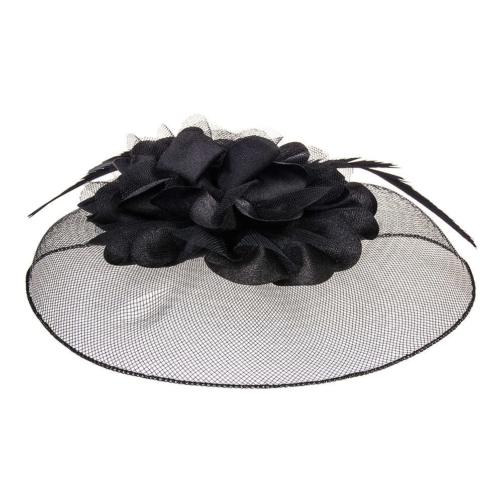 Blue Banana '50s Flower Fascinator (Black)