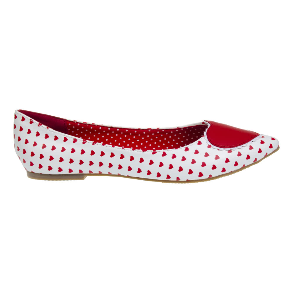 Banned Alma Flat Shoes (White/Red)