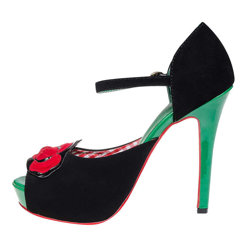 Banned Sage Rose Peep Toe Heel Shoes (Black)