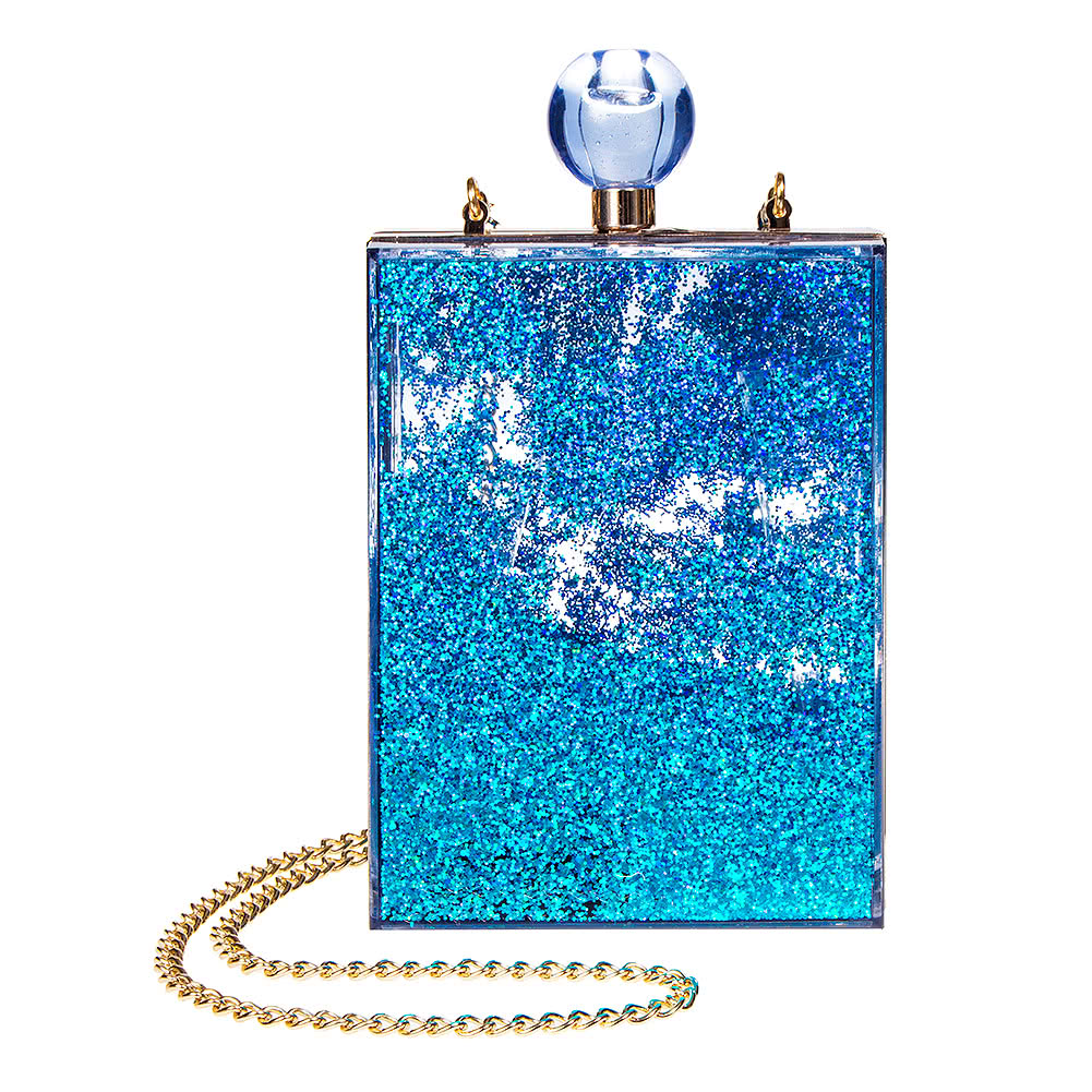Blue Banana Glitter Box Clutch Bag (Blue)