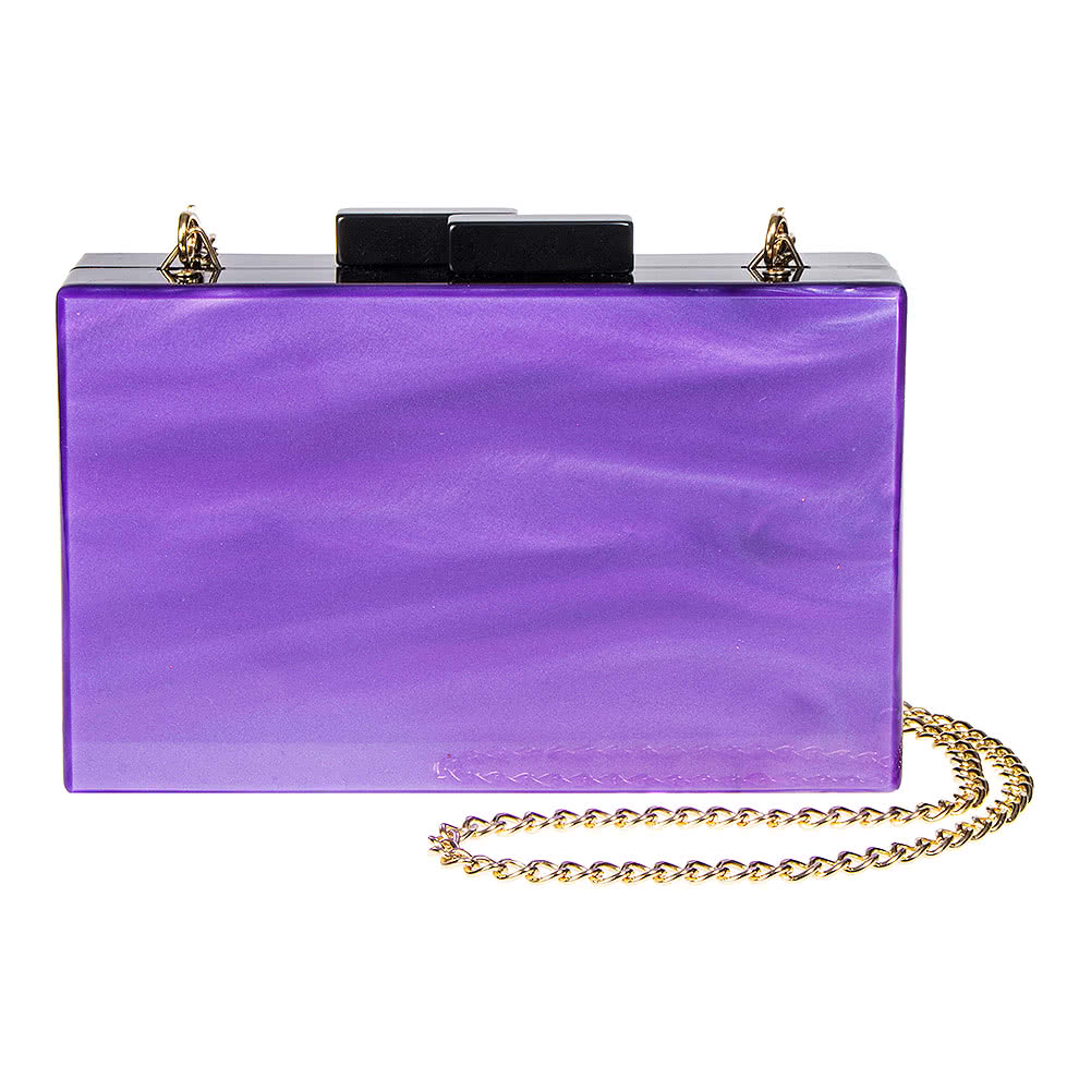 Blue Banana Swirl Box Clutch Bag (Purple/Black)