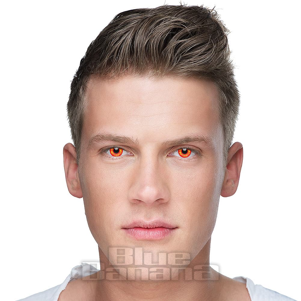 UV i-Glow Wolf 90 Day Coloured Contact Lenses (Red)