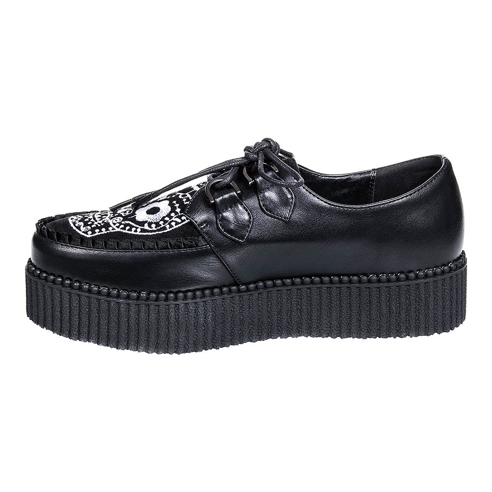 Banned Rebel Rebel Sugar Skull Creeper Shoes (Black)