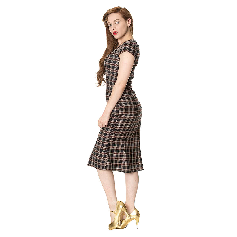 Banned Elvis Ain't Dead Tartan Dress (Multicoloured)