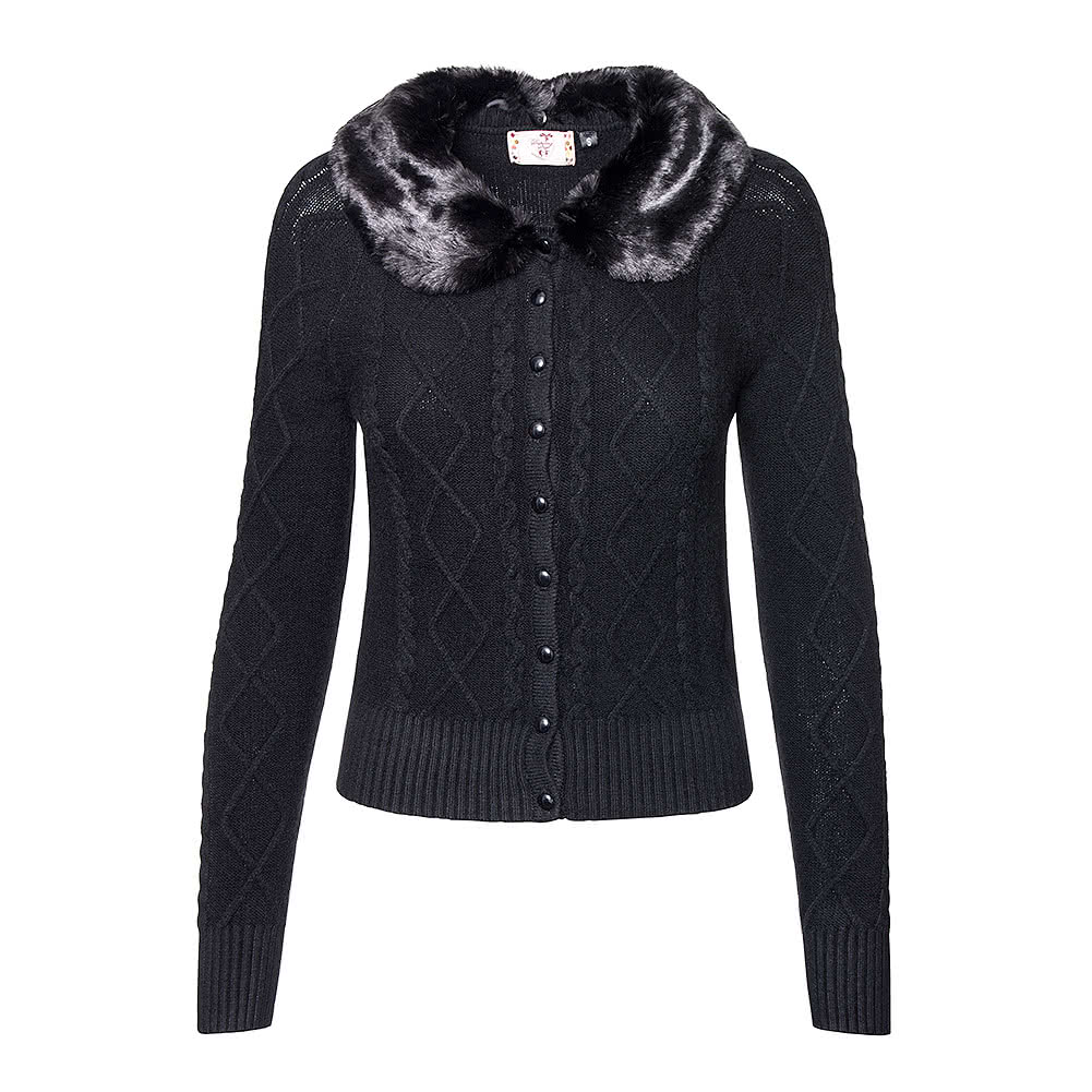 Banned Let's Party Faux Fur Cardigan (Black)