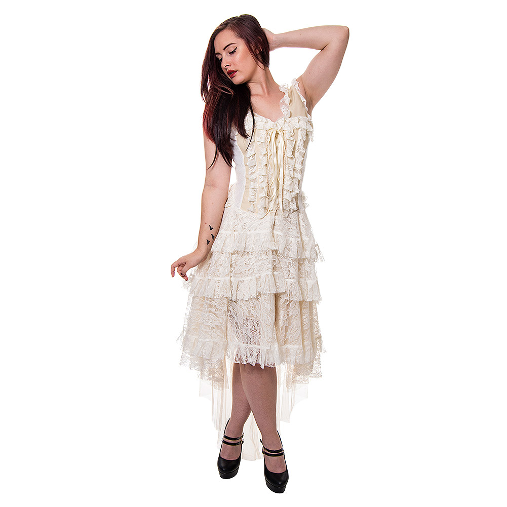 Blue Banana Desdemona Steampunk Corset Dress (Cream)