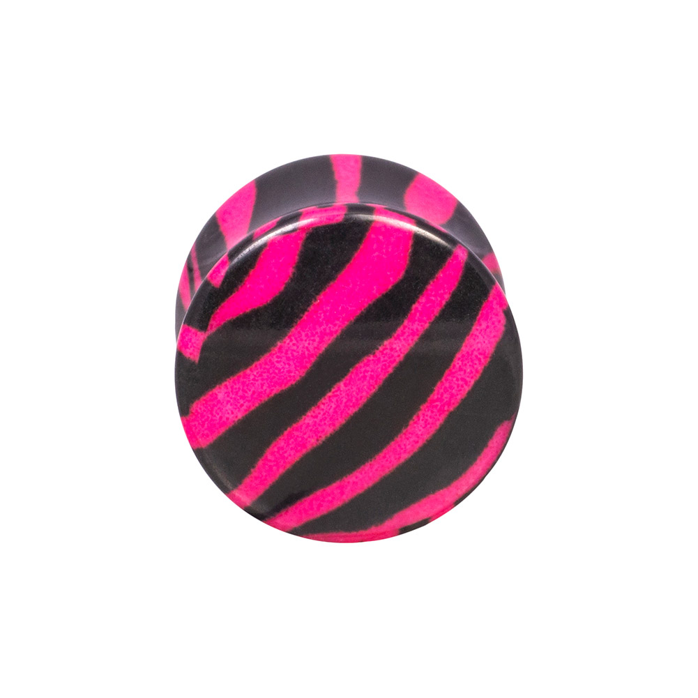 Blue Banana Acrylic Zebra Ear Plug 12mm (Black/Pink)