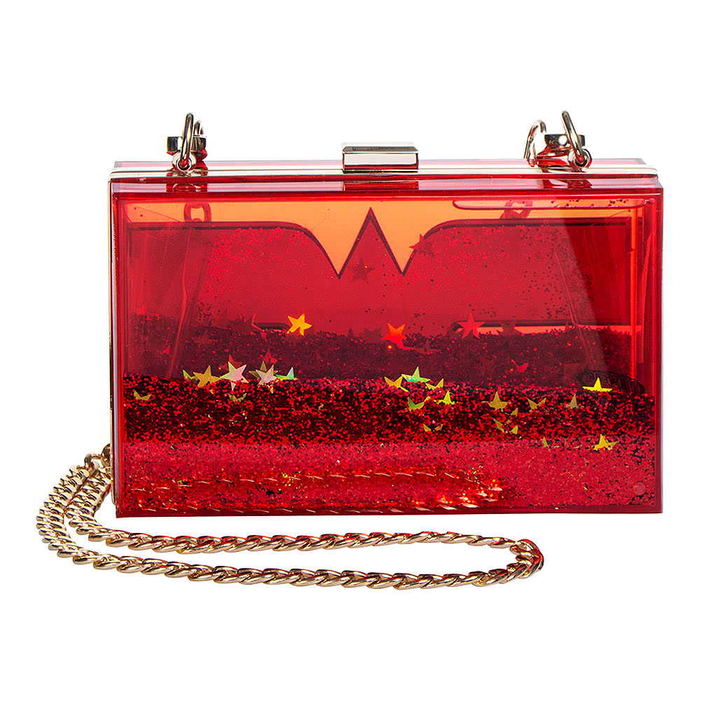 DC Comics Wonder Woman Glitter Perspex Clutch Bag (Red)