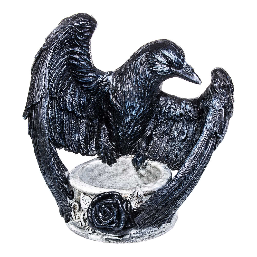 Alchemy Gothic Ravens Ward Tealight Holder (Black/Grey)