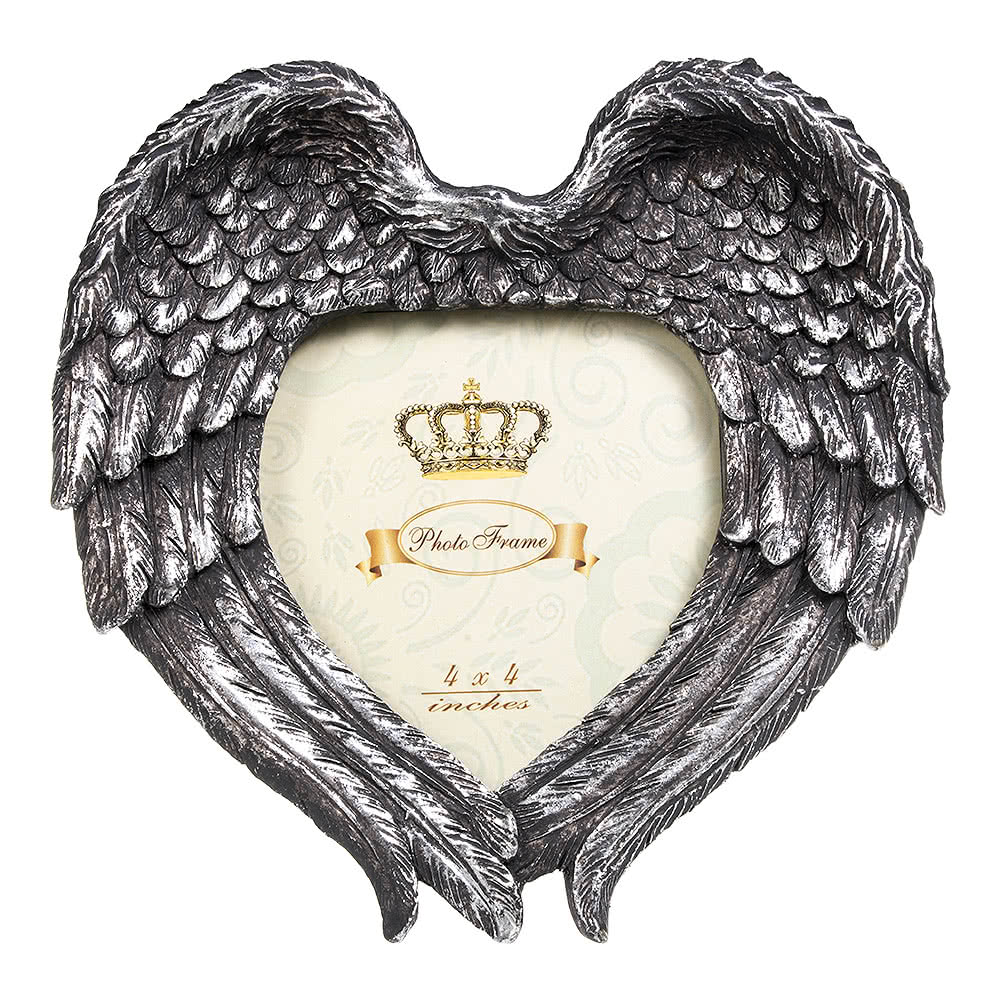 Alchemy Gothic Winged Heart Photo Frame (Silver)