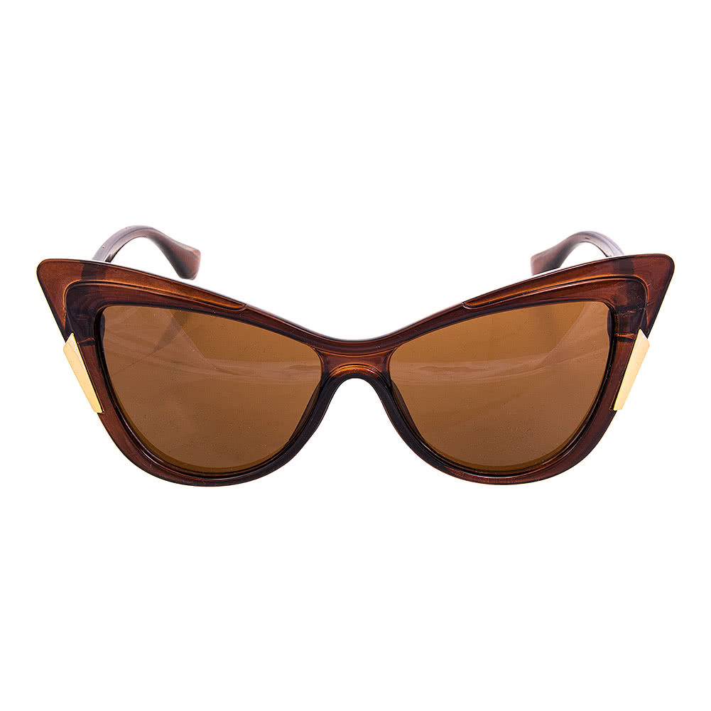 Blue Banana Pointed Horn Rimmed Sunglasses (Brown)