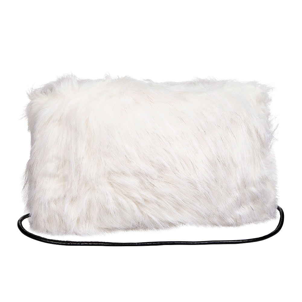 Blue Banana Faux Fur Clutch Bag (White/Black)