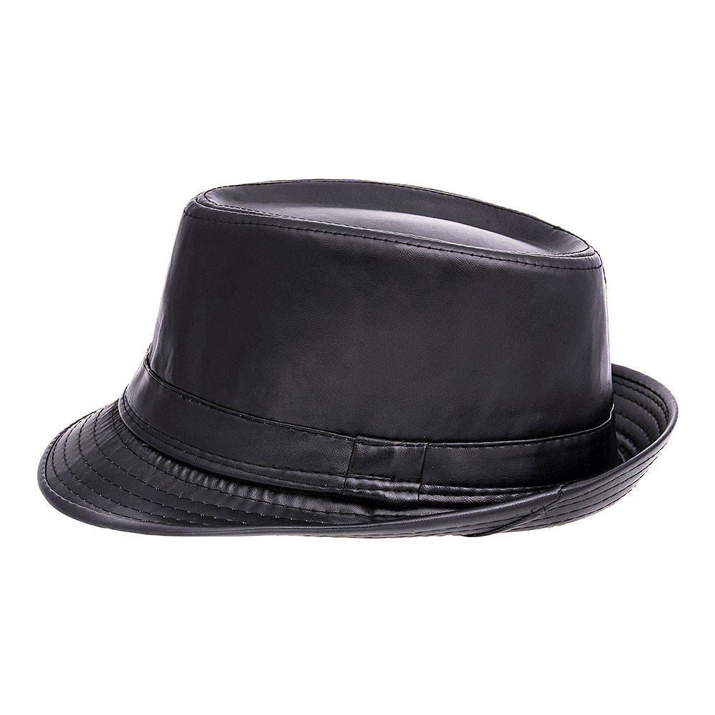 Blue Banana Leather Style Trilby (Black)