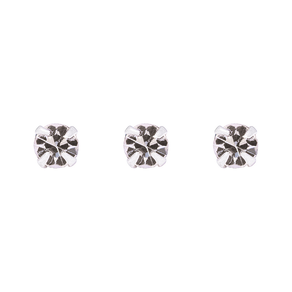 Blue Banana Silver 0.5mm Pack of 3 Nose Studs (Crystal)