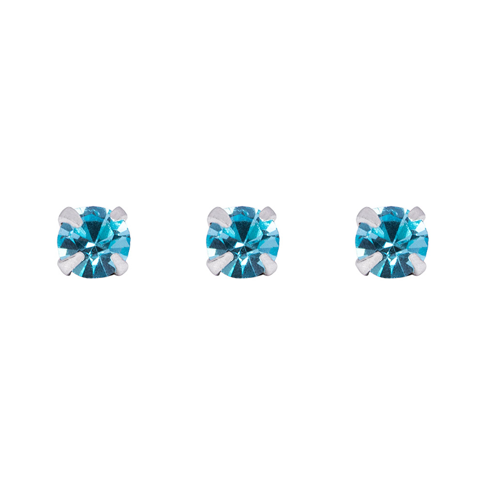 Blue Banana Silver 0.5mm Pack of 3 Nose Studs (Aqua)