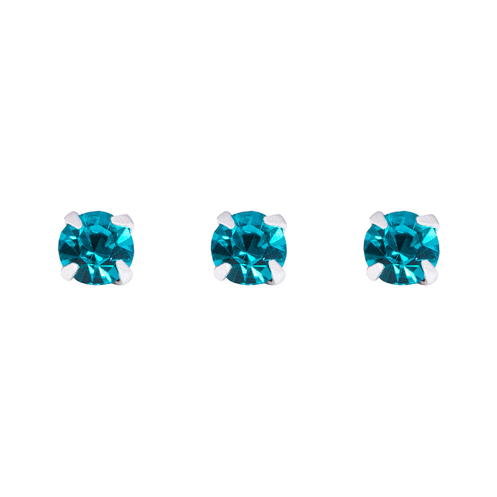 Blue Banana Silver 0.5mm Pack of 3 Nose Studs (Blue Zircon)