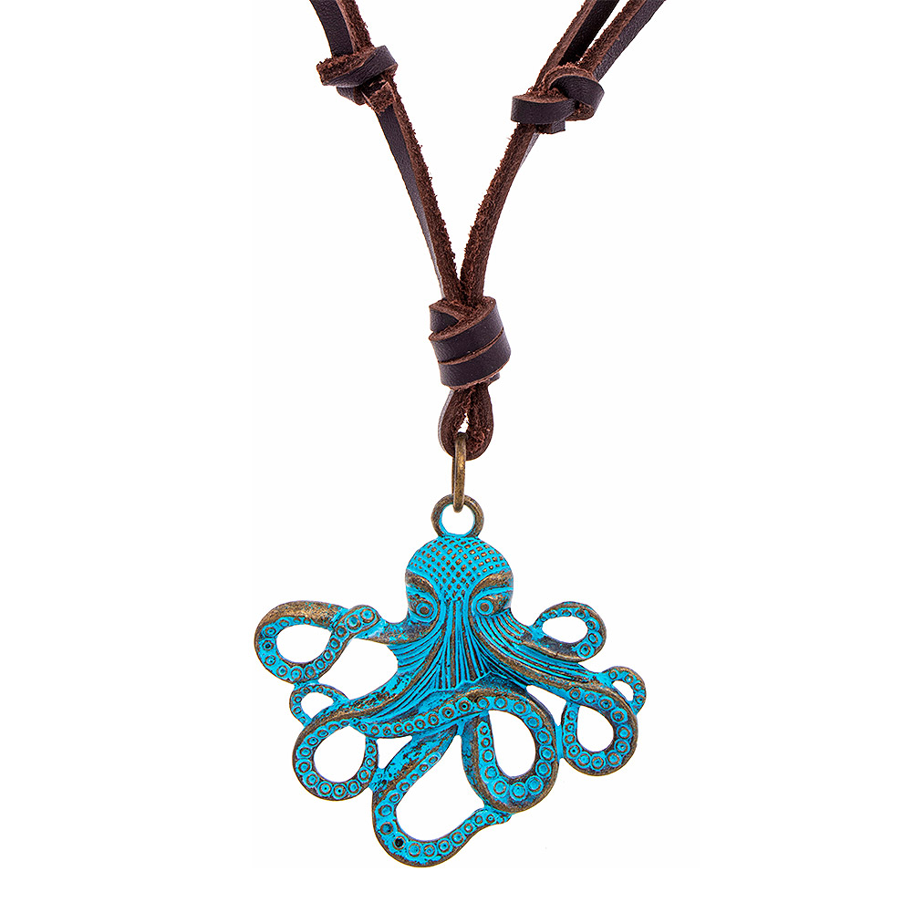 lost by gunmetal into necklace in bronze collections on wild apostle products chain octopus shown the pendant