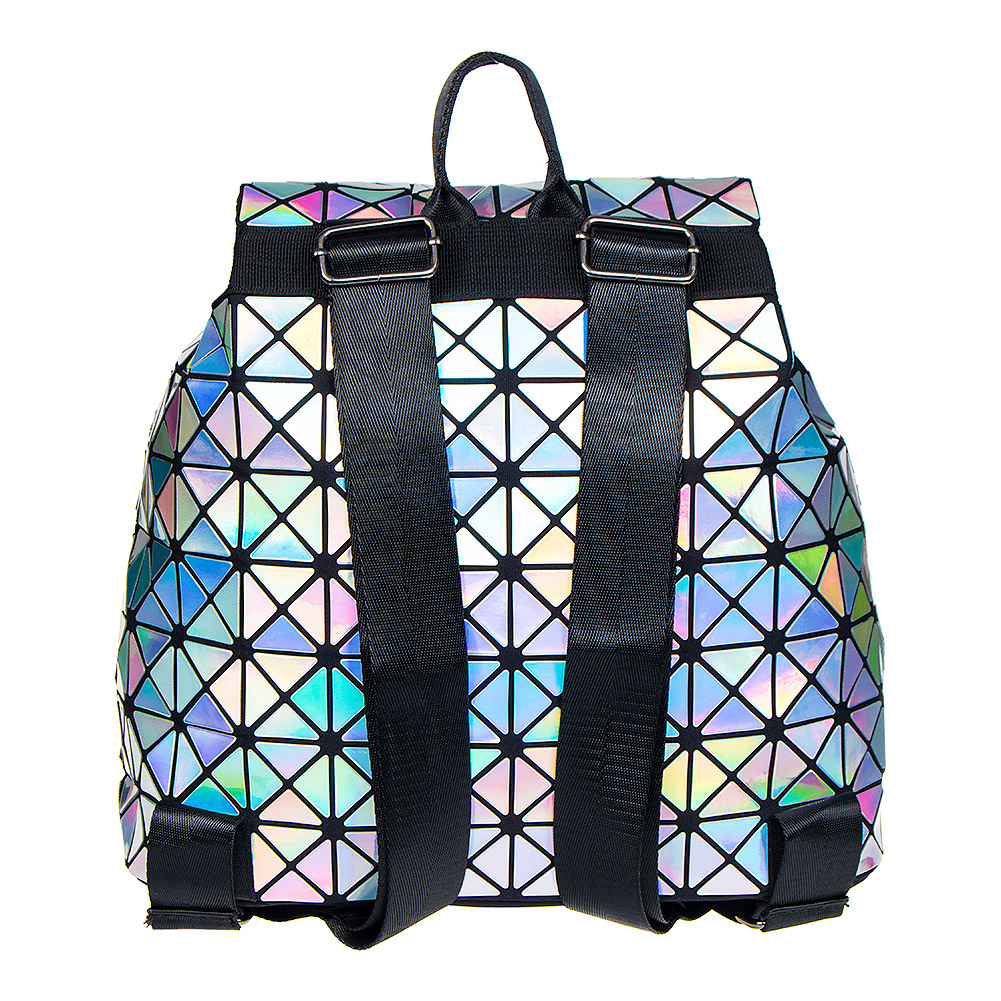 Blue Banana Holographic Squares Backpack (Silver)