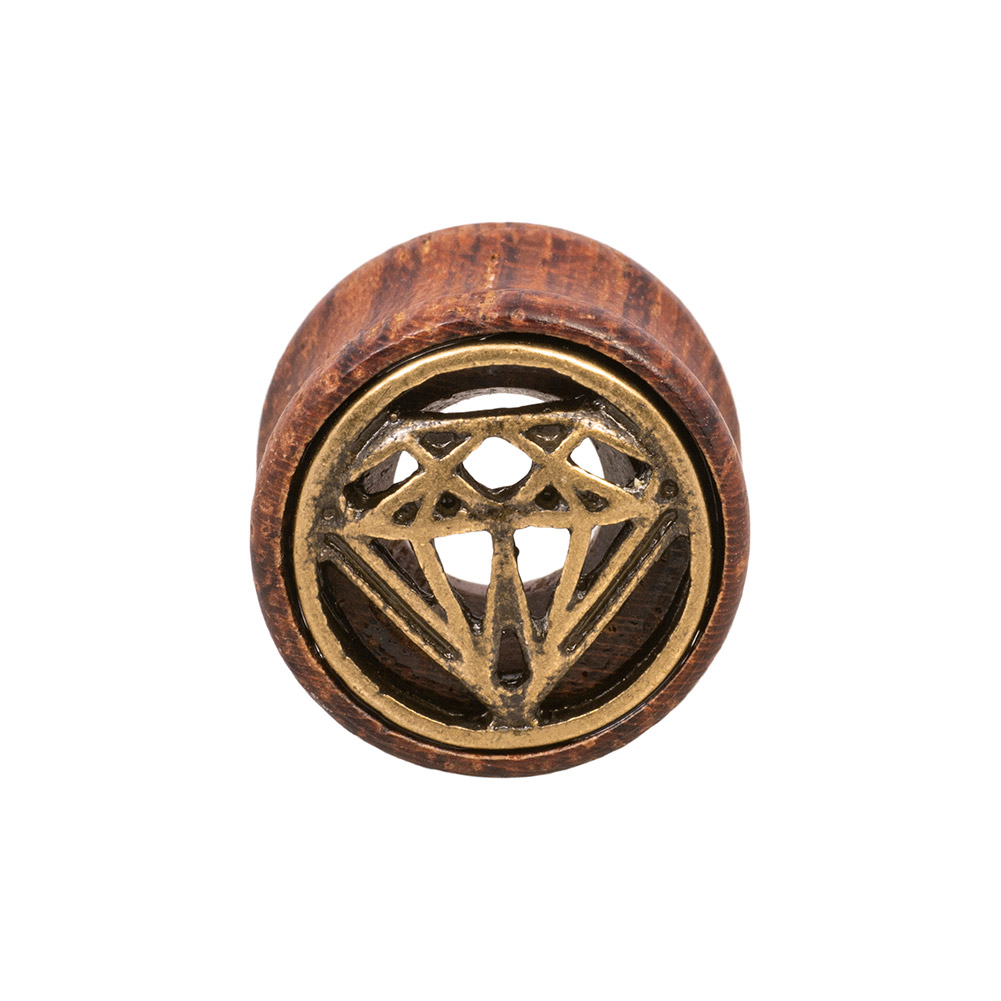 Blue Banana Wood & Brass Diamond Flesh Tunnel 8-28mm (Brown)