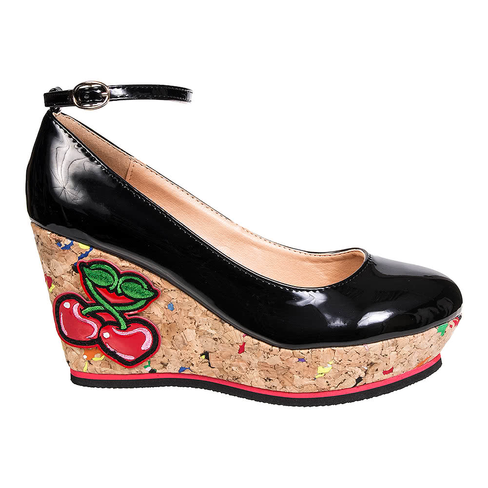 Banned Mustang Sally Wedge Heeled Shoes (Black)