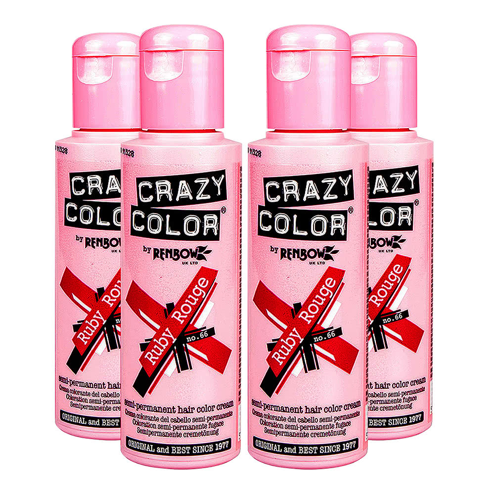 Crazy Color Semi-Permanent Hair Dye 4 Pack 100ml (Ruby Rouge)