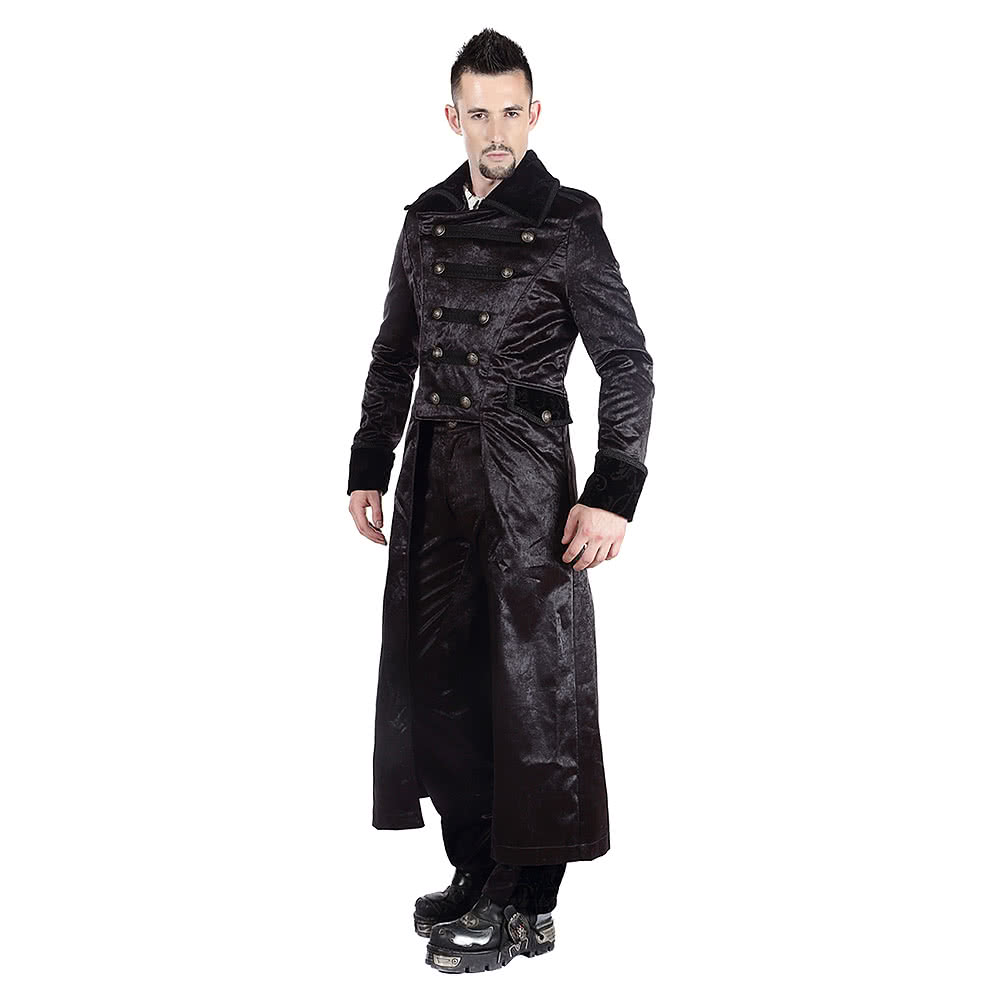 Pentagramme Velvet Flock Long Coat (Black)